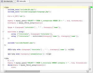 Syntax highlighting of PHP file