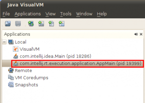 VisualVm The application